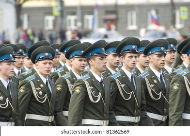 YAROSLAVL - MAY 7 : Unidentified soldiers of Internal troops on rehearsal of Military Parade during 66th anniversary of Victory in Great Patriotic War on May 7, 2011 in Yaroslavl, Russia