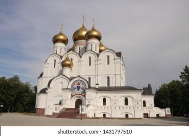 YAROSLAVL, YAROSLAVL OBLAST / RUSSIA - JUNE 18 2019: Assumption cathedral of the Russian orthodox church in the city of Yaroslavl