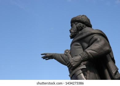 YAROSLAVL, YAROSLAVL OBLAST / RUSSIA - JUNE 18 2019: Yaroslav the Wise as a part of monument to the 1000th anniversary of Yaroslavl city in Strelka Park