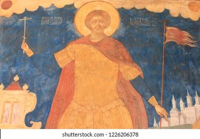 YAROSLAVL, YAROSLAVL OBLAST / RUSSIA - SEPTEMBER 10 2018: Ancient frescoes on the walls of the church of Decapitation of John the Baptist at Tolchkovo