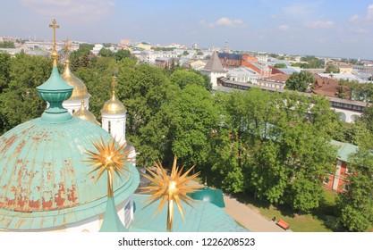 YAROSLAVL, YAROSLAVL OBLAST / RUSSIA - SEPTEMBER 10 2016: Russian city Yaroslavl panorama. The historical centre of the Yaroslavl city. View from the bell tower.