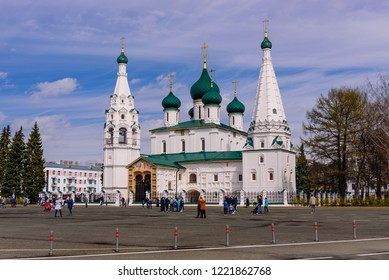 Yaroslavl, Russia - April 30, 2018: Sightseeing of Yaroslavl. Church of Elijah the Prophet (Elijah Church) in the historic center of the city