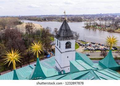 Yaroslavl, Russia - April 30, 2018: Golden ring of Russia. Aerial view of Yaroslavl. View from the bell tower of Yaroslavl Architectural Historical and Art Museum Preserve of the Spassky Monastery.