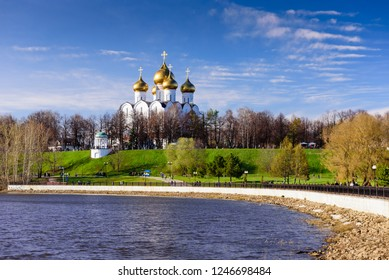 Yaroslavl, Russia - April 30, 2018: Golden ring of Russia. Uspensky cathedral and Strelka Park, beautiful spring view