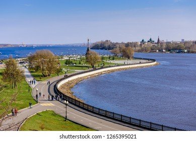 Yaroslavl, Russia - April 30, 2018: Golden ring of Russia. Strelka Park is a popular city Park in the center of Yaroslavl, beautiful spring view