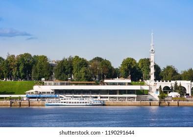 Yaroslavl, Russia- August 07, 2018: Summer cityscape, Volga river and Yaroslavl river station