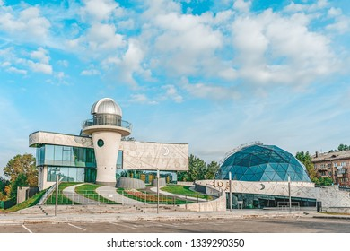 YAROSLAVL, RUSSIA - AUGUST 4, 2018: Planetarium building in the city of Yaroslavl in the early morning on a sunny day