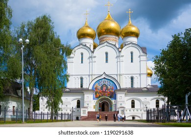 Yaroslavl, Russia - August 7, 2018: Assumption cathedral in Yaroslavl, Russia. It is medieval Russian Orthodox Church that was constructed in early 1210's shortly after Yaroslavl was found