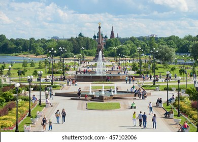 YAROSLAVL, RUSSIA - JULY 10, 2016: View of the alley of fountains and the monument in honor of the 1000th anniversary of Yaroslavl on the Strelka of the rivers Volga and Kotorosl