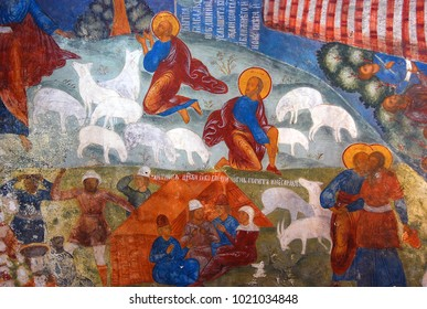 YAROSLAVL, RUSSIA - JULY 20, 2012: Old religious painting. Church of Elijah the Prophet in Yaroslavl, Russia. Popular touristic landmark, UNESCO World Heritage Site.