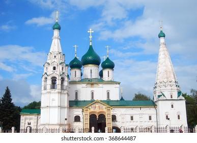 "YAROSLAVL, RUSSIA - JULY 20, 2012: Elijah the Prophet churh in Yaroslavl city (a city from the ""Golden ring"" list) on the Volga river, Russia. UNESCO world heritage site."