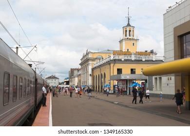 Yaroslavl, Russia - July 9, 2018: Passenger train at Yaroslavl Glavny railway station