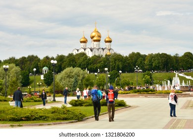 Yaroslavl, Russia - June 11, 2018: Beautiful view from Strelka Park to the Assumption Cathedral