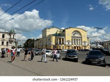 YAROSLAVL, RUSSIA  - JUNE 22, 2018: The area of Volkova and theater named Volkov in Yaroslavl