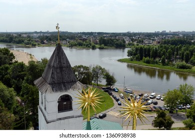 YAROSLAVL, RUSSIA  - JUNE 23, 2018:  Yaroslavl is one of the oldest Russian cities, founded in the XI century. The Museum-reserve Yaroslavl Kremlin. View from the bell tower.
