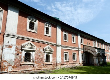YAROSLAVL, RUSSIA - JUNE 23, 2018: Cell building of the XVII century in the Transfiguration monastery of Yaroslavl
