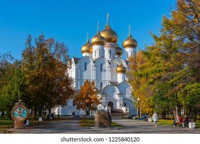 Yaroslavl, Russia - October 15, 2018. Cathedral of the Assumption in ancient Russian town of  Yaroslavl