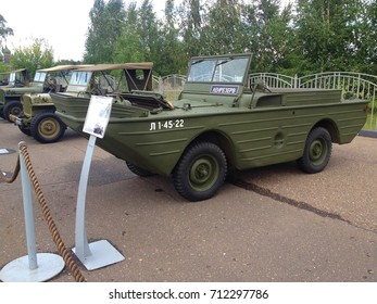 """Yaroslavl, Russia - September 09, 2017: exhibition of military equipment """"One Country - One Victory"""", timed to anniversary of the beginning of the siege of Leningrad, american floating car Ford GPA"""