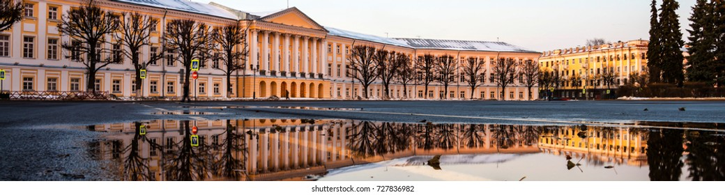 Yaroslavl, Russia. Soviet square in the evening in Yaroslavl, Russia. Reflection of historical building in a water with clear blue sky