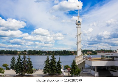 Yaroslavl,Russia- August 07, 2018: Clock tower of Yaroslavl river station with emblem of city and Volga river