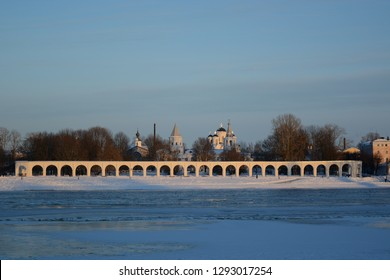 Yaroslav's Courth istorical monument . Veliky Novgorod.Winter