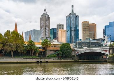 Yarra river and Melbourne CBD cityscape on rainy day