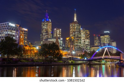 Yarra River and  Melbourne city at night looking towards Flinders Street Station,Melbourne, Australia:09/04/2018
