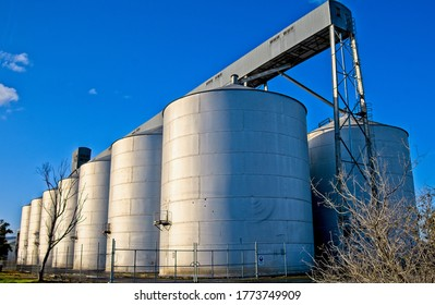 Yarrawonga, Victoria / Australia - June 14 2020: A bank of grain silos at Yarrawonga Station in Yarrawonga Victoria Australia