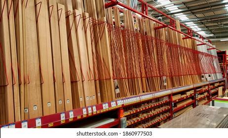 Yarrawonga, Victoria  Australia - November 24 2020: Display of timber at a large hardware store