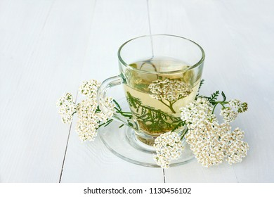 Yarrow medicinal tea in glass mug and yarrow flowers over light blue wooden table (Achillea millefolium)