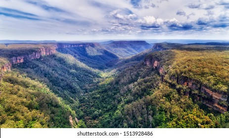 Yarrunga valley of the Great Dividing range of Southern Highlands in Australia - deep creek between sandstone plateau covered by evergreen gum-tree woods.
