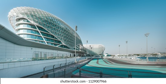 Yas island, Abu Dhabi, United Arab Emirates - Jun.23, 2018: Yas Viceroy Hotel is built across the F1 Yas Marina Circuit. It is known as one of the icons of Abu Dhabi and has a very futuristic design.