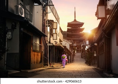 Yasaka Pagoda and Sannen Zaka Street in the Morning, Kyoto Japan