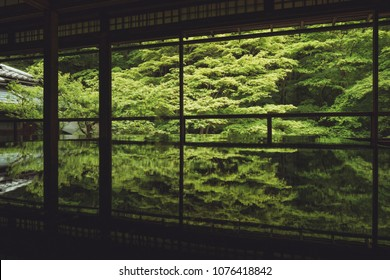 Yase Ruriko-in temple famous forest reflection in the table. Kyoto, Japan,