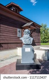 Yasnaya Polyana, Russia - June 23, 2017: Leo Tolstoy's monument on Kozlova Zaseka railroad station