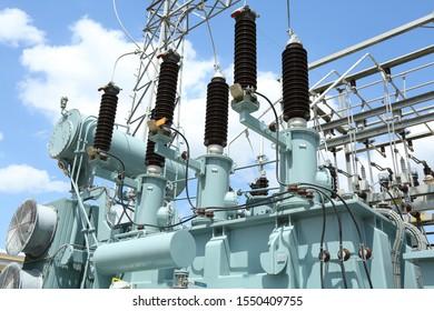 Yasothon, Thailand - June 16, 2019: Overview of High Voltage Electrical Substation