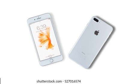 Yasothorn, THAILAND - November 30, 2016: New Apple iPhone 7 Plus  front side and backside isolate on background with clipping path