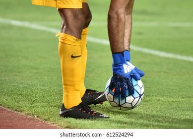 Yasser Al Mosaliem (yellow) goalkeeper of Saudi Arabia during the 2018 FIFA World Cup Asian Qualifiers Match Thailand and Saudi Arabia at Rajamangala Stadium on March 23,2017 in Bangkok,Thailand.