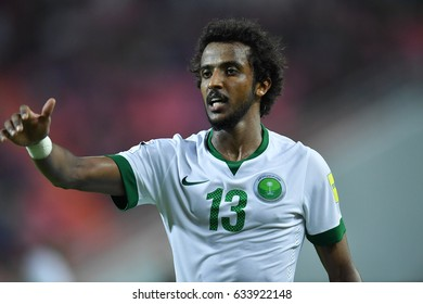 Yasser Al-Shahrani of Saudi Arabia in action during 2018 FIFA World Cup Qualifier between Thailand and Saudi Arabia at the Rajamangala Stadium on March 23, 2017 in Bangkok,Thailand,