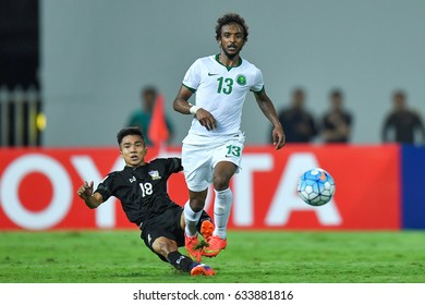 Yasser Al-Shahrani (white) of Saudi Arabia in action during 2018 FIFA World Cup Qualifier Group B between Thailand and Saudi Arabia at the Rajamangala Stadium on March 23, 2017 in Bangkok,Thailand,