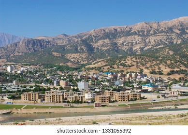 Yasuj, Iran - June 21, 2007: View to the town of Yasuj with the mountains at the background in Yasuj, Iran.