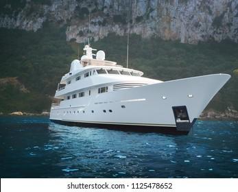 Yatch anchored at Capri, Italy