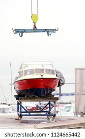 yatch boat in shipyard  for repair and maintenance in marina port
