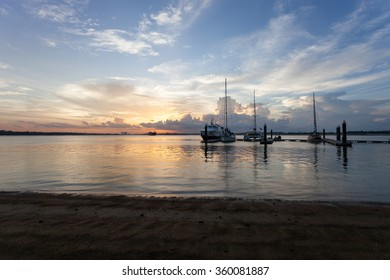 Yatch moored at Danga Bay Johor Bahru during amazing sunset.