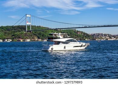 Yatch on Bosphorus Istanbul Turkey.