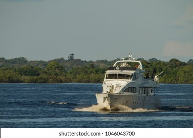 Yatch travelling through 'Rio Negro' river, Amazon rainforest in the background. Blue sky. Amazon / Brazil