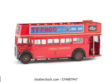 YATELEY, UK - FEBRUARY 22, 2013: Miniature scale model of a vintage London City Tour open top sightseeing bus. The full size original was used for tourism trips around the UK capital city