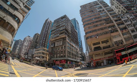 Yaumatei, Hong Kong - May 03, 2020 : Street view in Yaumatei district. This district is mainly an area of mixed residential and retail.