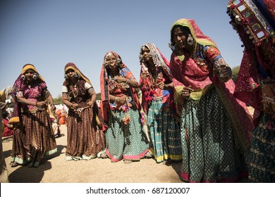 YAVATMAL, MAHARASHTRA, INDIA, 23 JANUARY 2016 : Unidentified Indian Tribal Lambada dancer or banjara women perform dance in colorful dress, at their traditional festival.