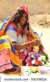 YAVATMAL, MAHARASHTRA, INDIA, 3 APRIL 2009 : Unidentified portrait of lambadi or banjara woman with ornaments and colorful dress. Lambadis are a nomadic community settled in various parts of India.